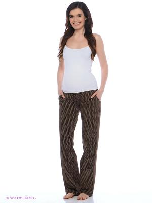 Домашние брюки для беременных с поясом под живот Hunny Mammy. Цвет: коричневый, белый