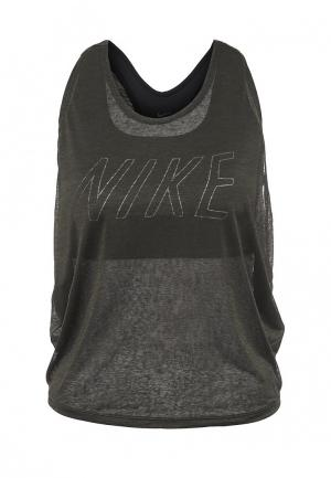 Майка спортивная Nike. Цвет: хаки