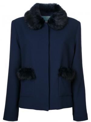 Duke faux fur trim jacket Shrimps. Цвет: синий