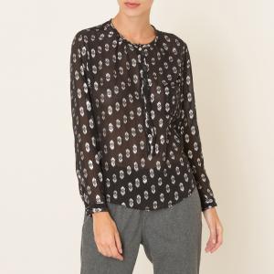 Блузка шелковая POMANDERE. Цвет: черный