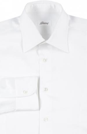 Хлопковая сорочка с итальянским воротником Brioni. Цвет: белый