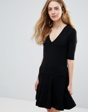 Ganni Черное классическое платье мини Williams. Цвет: черный