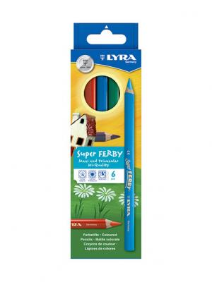 Super ferby Деревянные карандаши 6 цв Lyra. Цвет: желтый, зеленый, синий