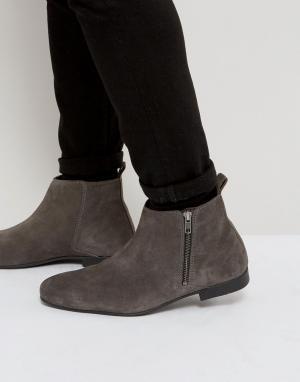 Frank Wright Темно-серые замшевые ботинки челси на молнии сбоку. Цвет: серый