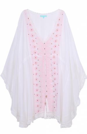 Туника свободного кроя с контрастной вышивкой Melissa Odabash. Цвет: белый