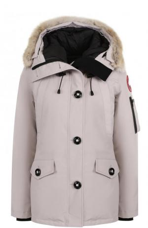Утепленная куртка Montebello с капюшоном и меховой отделкой Canada Goose. Цвет: бежевый