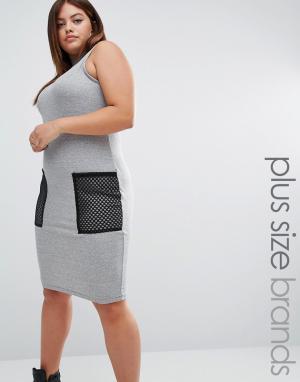 One Three Облегающее платье в рубчик с сетчатыми карманами. Цвет: серый