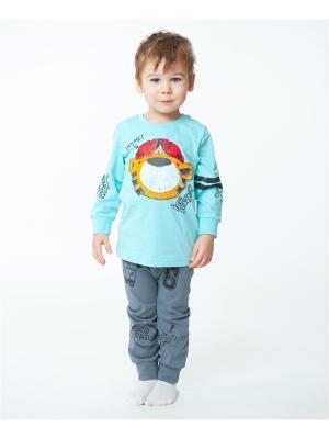 Пижама VATAGA. Цвет: лазурный, серый