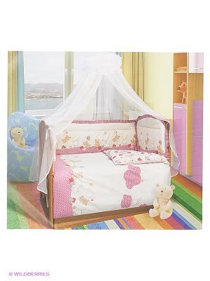 Комплект ПБ в кроватку, уютных облачках Soni kids. Цвет: розовый, молочный