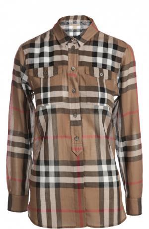 Рубашка Burberry. Цвет: коричневый