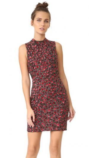 Платье Rosalee с воротником-стойкой и вышивкой alice + olivia. Цвет: черный/рубиновый