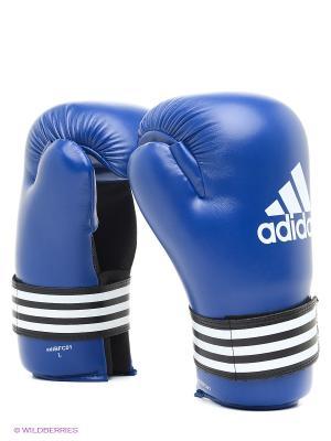 Перчатки полуконтакт Adidas. Цвет: синий