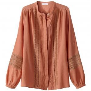 Рубашка прямого покроя из хлопка SUNCOO. Цвет: терракота