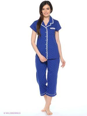 Пижама Eileen West. Цвет: синий, белый