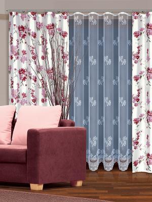 Комплект штор Haft. Цвет: белый, розовый