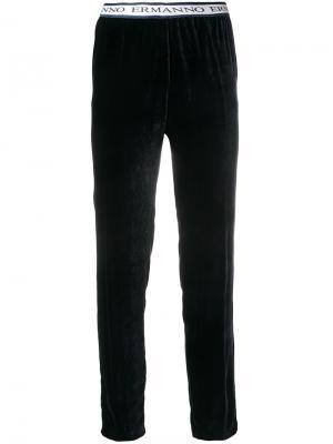 Укороченные брюки с логотипами на поясе Ermanno. Цвет: синий