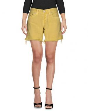 Джинсовые шорты TRUE RELIGION. Цвет: желтый
