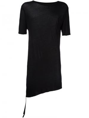 Рваная асимметричная футболка Unravel Project. Цвет: чёрный