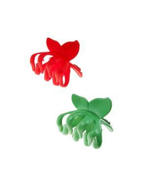 Заколка-краб (2 шт.) Happy Charms Family. Цвет: зеленый, красный
