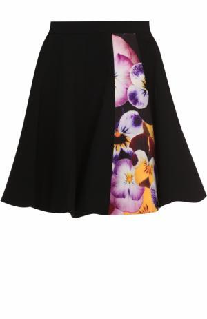 Расклешенная мини-юбка с цветочной вставкой Christopher Kane. Цвет: черный