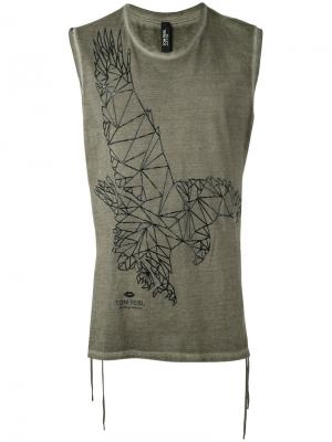 Eagle print sleeveless T-shirt Tom Rebl. Цвет: зелёный