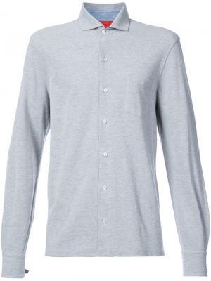 Рубашка с застежкой на пуговицы спереди Isaia. Цвет: серый