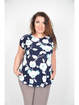 Блузка Полное счастье. Цвет: синий, бирюзовый