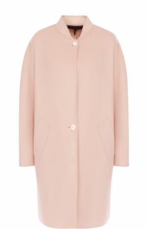 Пальто из смеси шерсти и кашемира с воротником-стойкой Rag&Bone. Цвет: розовый