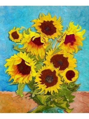 Картина подсолнухи Ecoramka. Цвет: синий, золотистый, оранжевый
