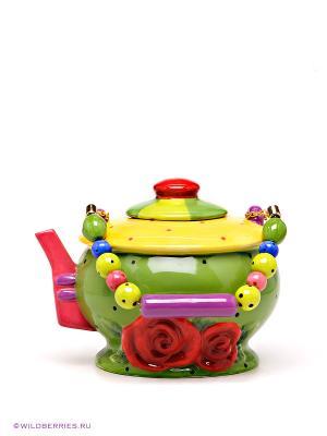 Заварочный чайник Pavone. Цвет: зеленый (осн.), красный, желтый