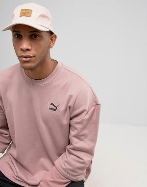 ASOS Светло-розовая 5-панельная кепка из искусственной кожи. Цвет: розовый