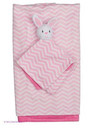 Комплект Плед и маленький с игрушкой Hudson Baby. Цвет: розовый, белый