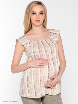 Блузка для беременных 40 недель. Цвет: бежевый, коричневый