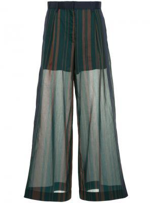 Полосатые широкие брюки Sacai. Цвет: зелёный