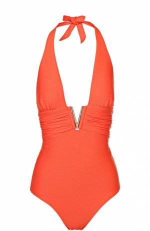 Слитный купальник с открытой спиной и фактурной отделкой Heidi Klein. Цвет: оранжевый