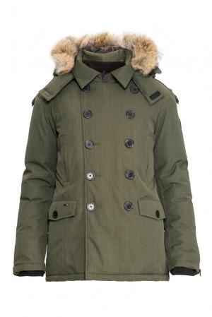 Пуховик с капюшоном и мехом койота 152467 Nobis. Цвет: зеленый