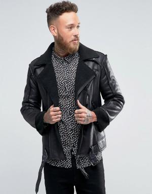 Rogues of London Короткая куртка с искусственной цигейкой. Цвет: черный