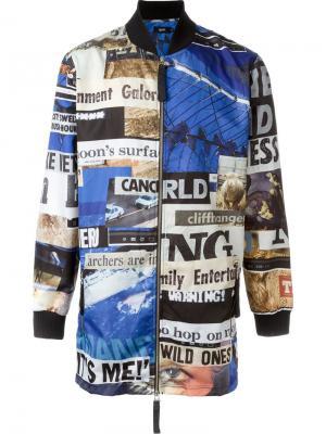 Пальто со смешанным принтом Blood Brother. Цвет: синий