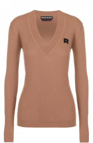 Пуловер фактурной вязки с V-образным вырезом Rochas. Цвет: бежевый