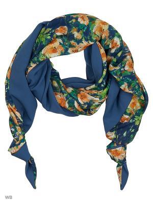 Двойной комбинированный шарф-долька с узелками Хорошие гены Оланж Ассорти. Цвет: синий, желтый