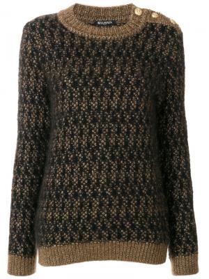 Текстурированный свитер Balmain. Цвет: коричневый