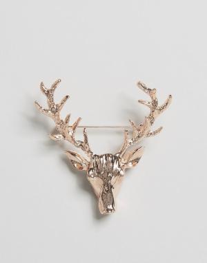 DesignB London Золотисто-розовая булавка на лацкан с дизайном оленя. Цвет: золотой