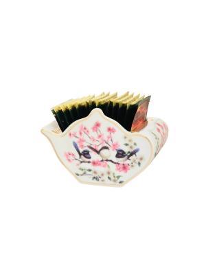 Подставка для чайных пакетиков Райские птички Elan Gallery. Цвет: белый, синий, розовый