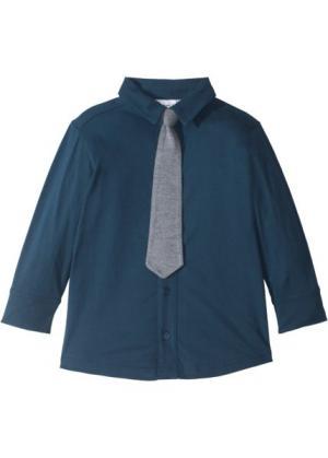 Трикотажная рубашка (2 шт.) (темно-синий/серый меланж с галстуком) bonprix. Цвет: темно-синий/серый меланж с галстуком