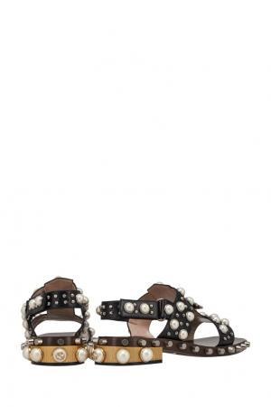 Кожаные сандалии Gucci. Цвет: черный