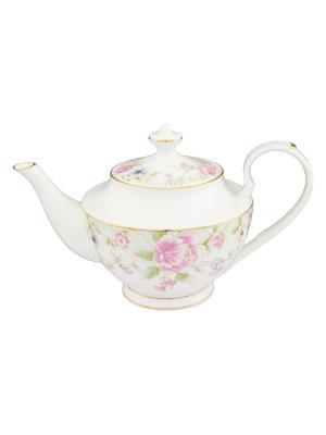 Чайник Карнавал цветов Elan Gallery. Цвет: белый, зеленый, розовый