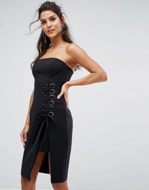 Finders Keepers Платье-бандо с решетчатой отделкой Unbelievers. Цвет: черный