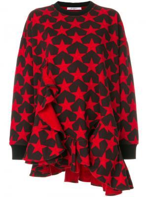 Толстовка с оборкой и звездным принтом Givenchy. Цвет: красный