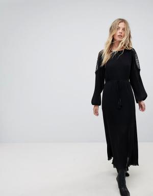 Moon River Кружевное платье макси. Цвет: черный
