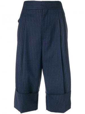 Укороченные брюки в полоску Erika Cavallini. Цвет: синий